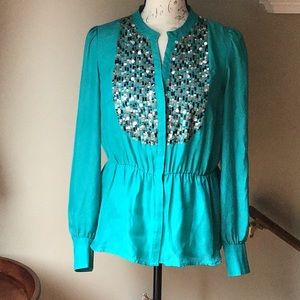 Anthropologie Maeve Green Sequined Blouse
